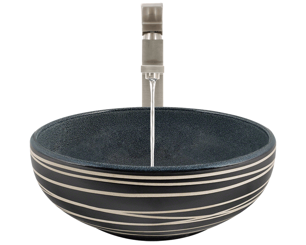 V402 Alt Image: Artisan Ceramic Vessel Round /Blue Bathroom Sink