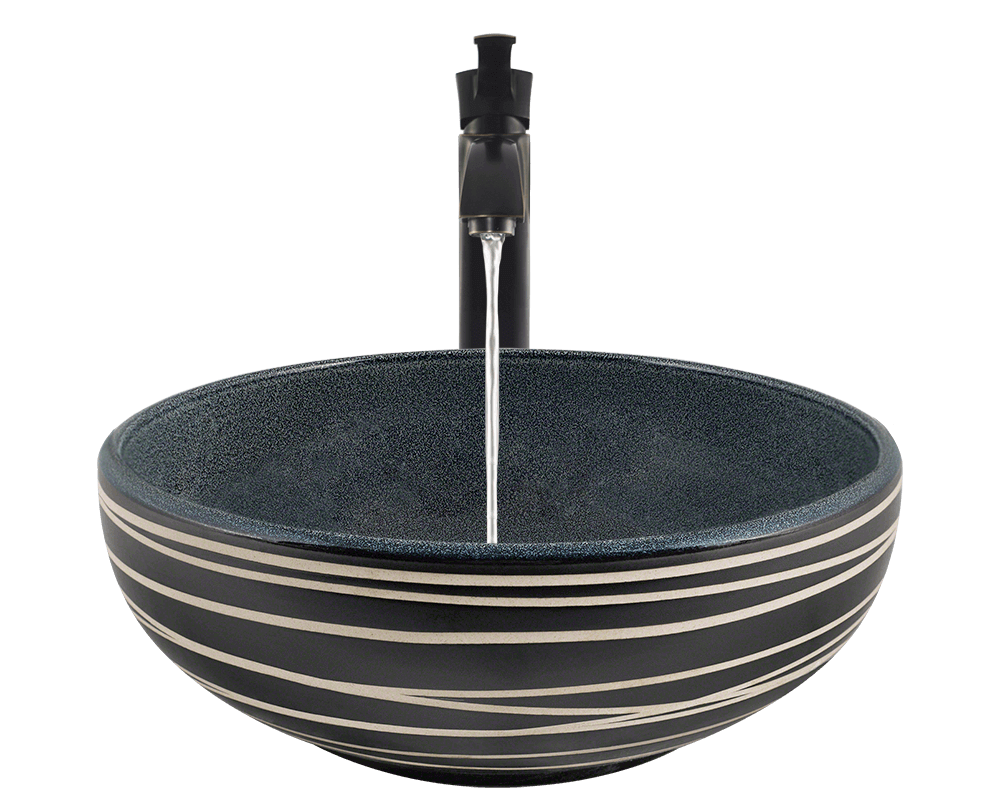 V402 Alt Image: Artisan Ceramic Vessel /Blue Round Bathroom Sink