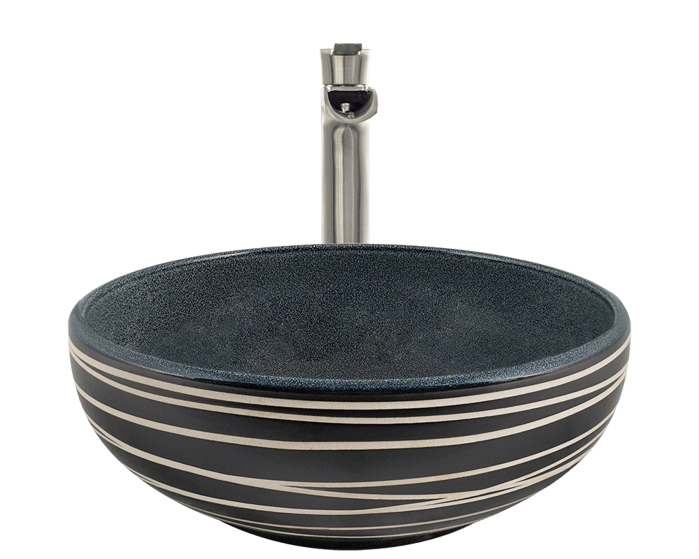 V402 Alt Image: Artisan Ceramic /Blue Vessel Round Bathroom Sink