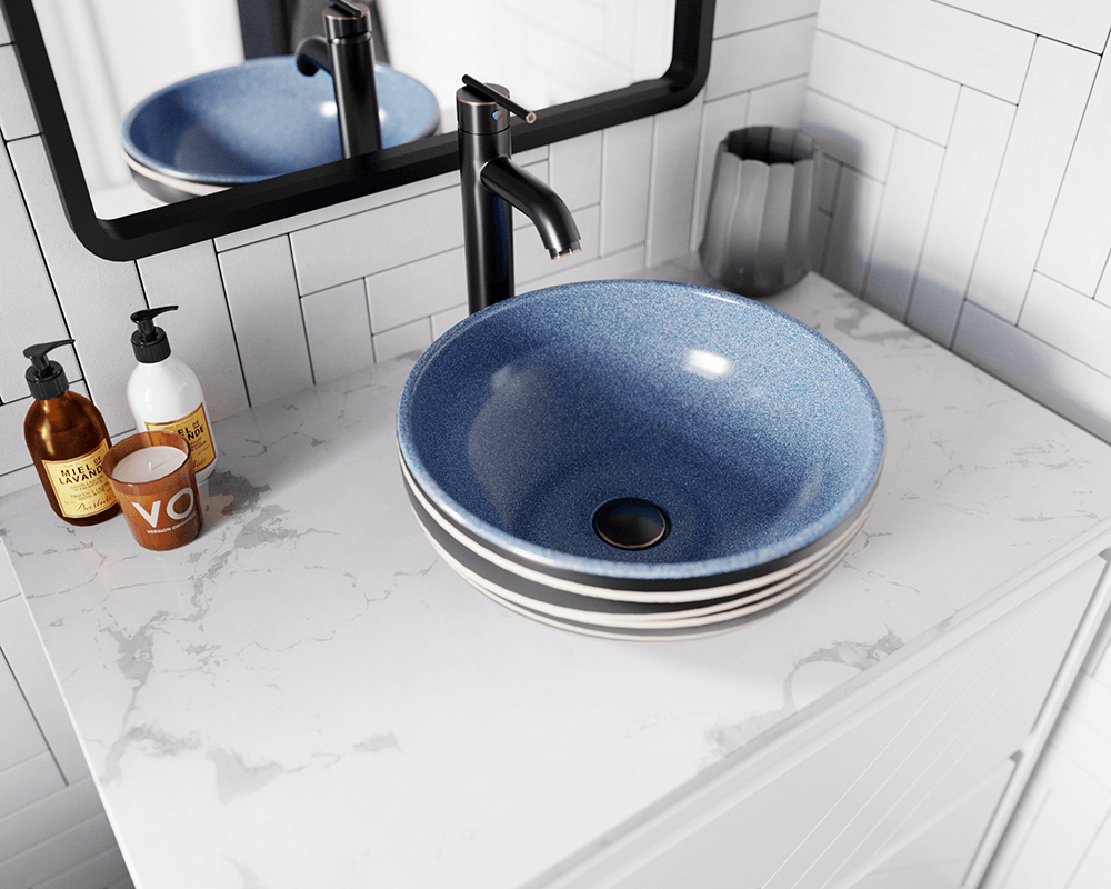 V402 Lifestyle Image: Artisan Ceramic Round /Blue Vessel Bathroom Sink