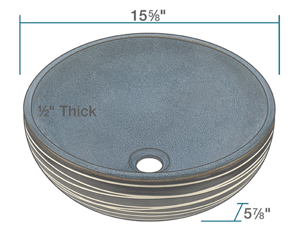 "The dimensions of V402 Hand-Thrown Ceramic Vessel Sink is 15 5/8"" x 15 5/8"" x 5 7/8"". Its minimum cabinet size is 18""."
