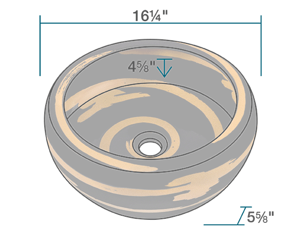 "The dimensions of V404 Hand-Thrown Ceramic Vessel Sink is 16 1/4"" x 16 1/4"" x 5 5/8"". Its minimum cabinet size is 18""."