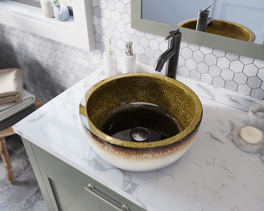 V406 Lifestyle Image: Artisan Ceramic Vessel /Yellow Round Bathroom Sink