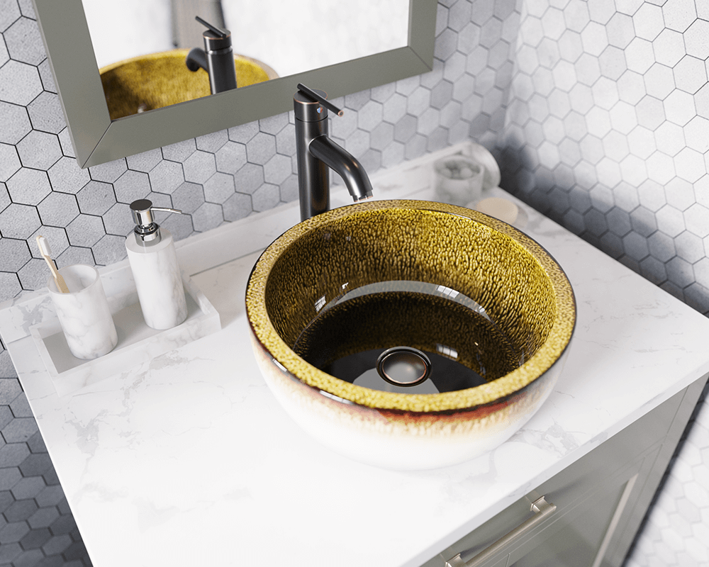V406 Lifestyle Image: Artisan Ceramic Round /Yellow Vessel Bathroom Sink