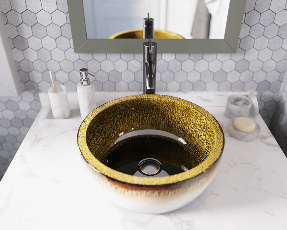 V406 Lifestyle Image: Artisan Ceramic Vessel Round /Yellow Bathroom Sink