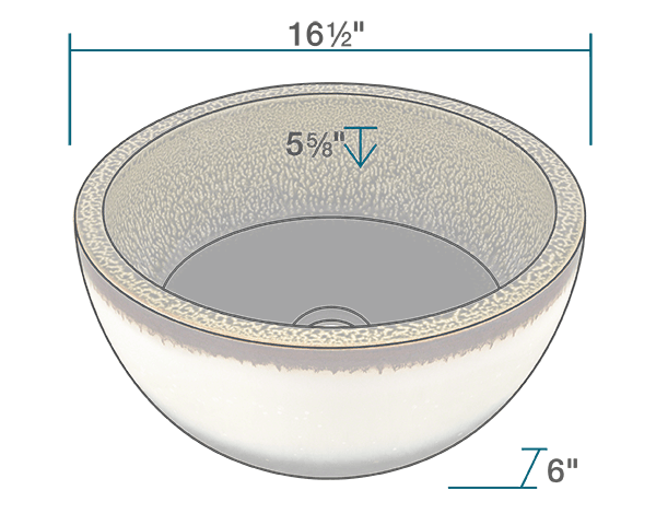 "The dimensions of V406 Hand-Thrown Ceramic Vessel Sink is 16 1/2"" x 16 1/2"" x 6"". Its minimum cabinet size is 18""."