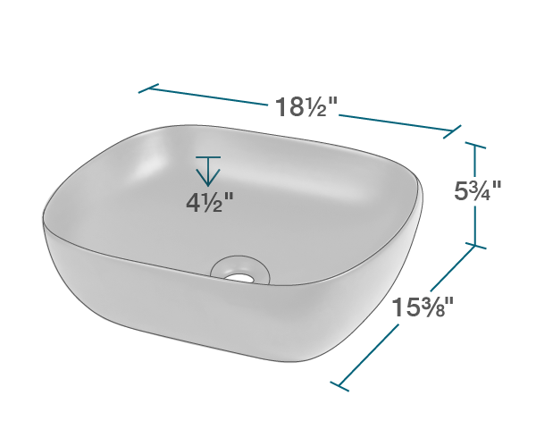 "The dimensions of V410 Matte Black Porcelain Vessel Sink is 18 1/2"" x 15 3/8"" x 5 3/4"". Its minimum cabinet size is 18""."