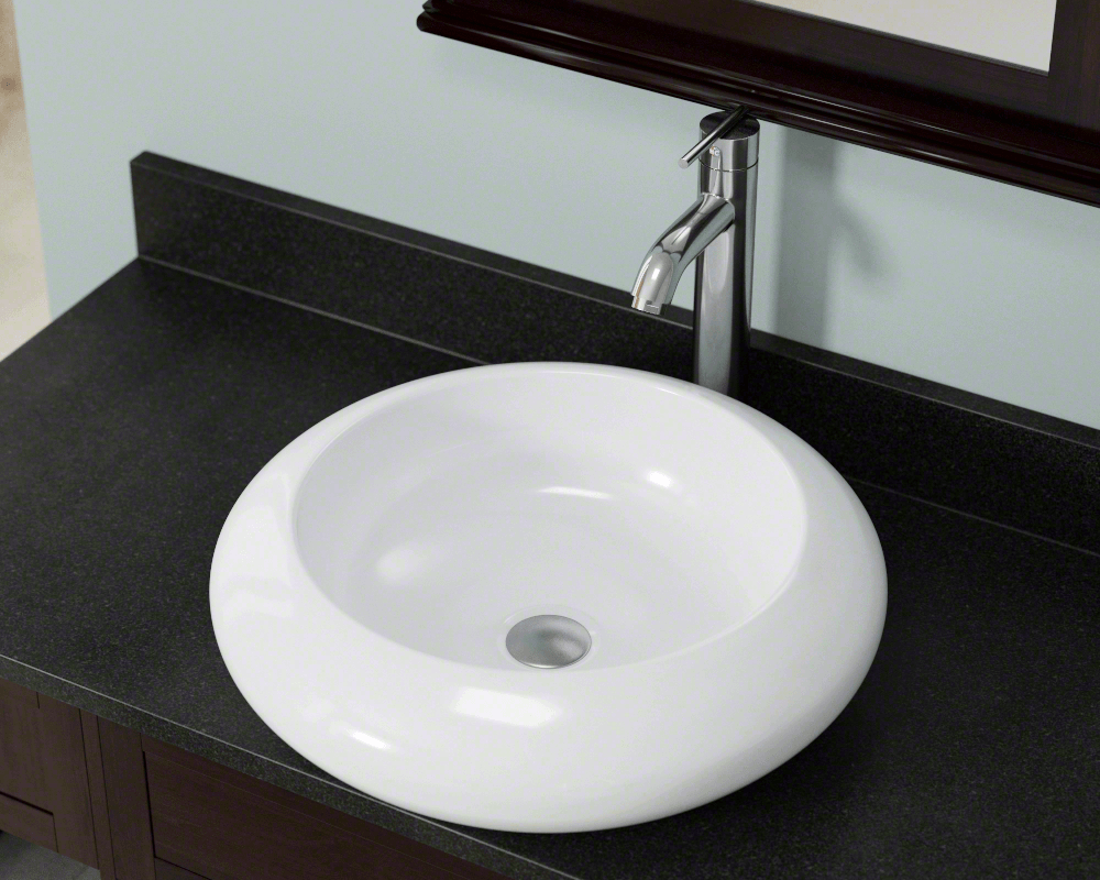V90-White Lifestyle Image: Vitreous China Round White Vessel Bathroom Sink