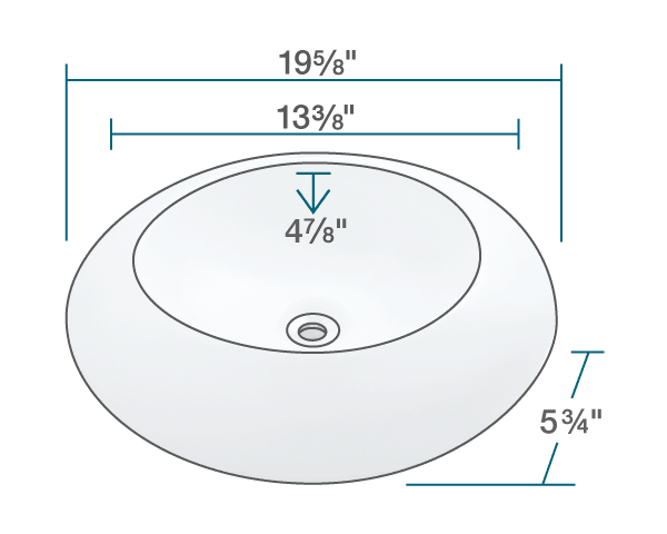 "The dimensions of V90-White Porcelain Vessel Sink is 19 5/8"" x 19 5/8"" x 5 3/4"". Its minimum cabinet size is 21""."